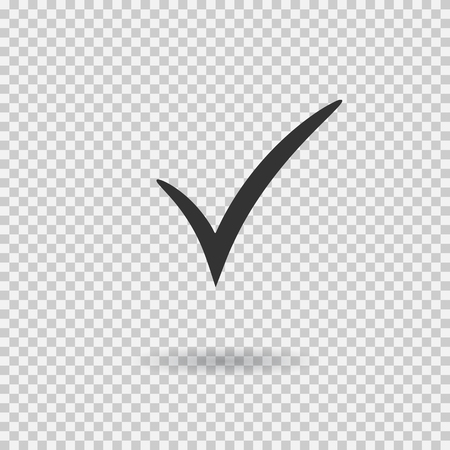 Check mark icon. Vector check mark button. Tick symbol. Illustration with shadow on transparent background. Ilustração