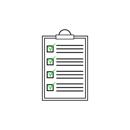 Ckecklist icon. Vector blank. Clipboard with checkboxes and checkmarks. Illustartion on white background. Ilustração