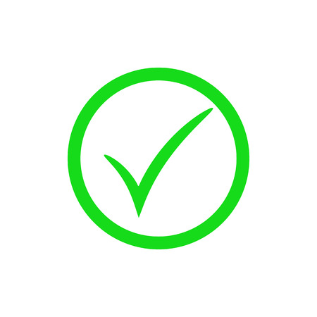 Green check mark icon. Vector check mark button. Tick symbol. Illustration isolated on white background.