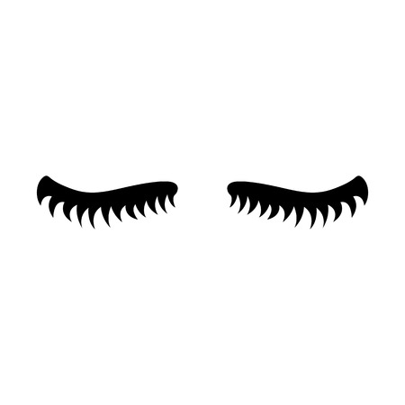 Eyelash. Cute eyelashes. Black lashes. Vector icon on white background