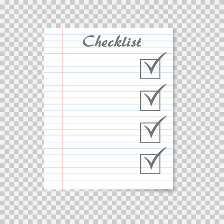 Checklist concept. To do list on school notebook paper. Checkmark. Vector illustration on transparent background.