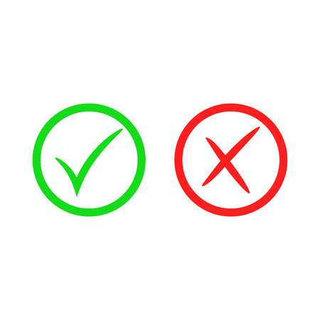Green check mark icon. Red cross mark. Vector checkmark button. Tick symbol. Illustration isolated on white background.