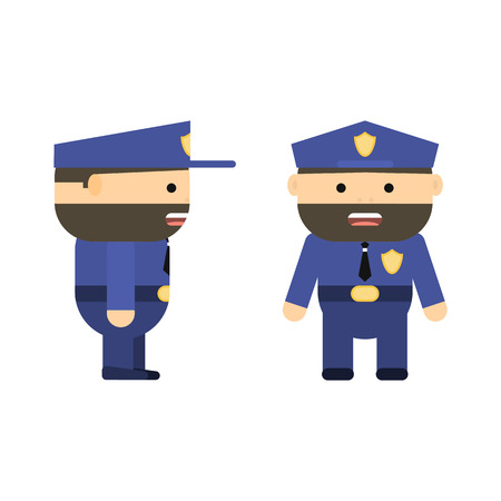 Police officer in cartoon style. Vector flat policeman. Character for game. Patrolman in uniform. Bearded man. Brown hair. Illustration isolated on white background.