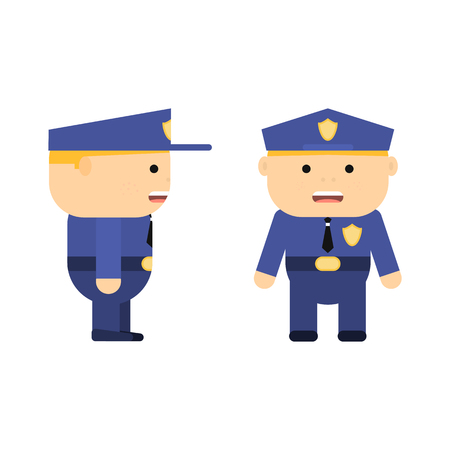 Police officer in cartoon style. Vector flat policeman. Patrolman in uniform. Character for game. Young man. Illustration isolated on white background. Ilustração