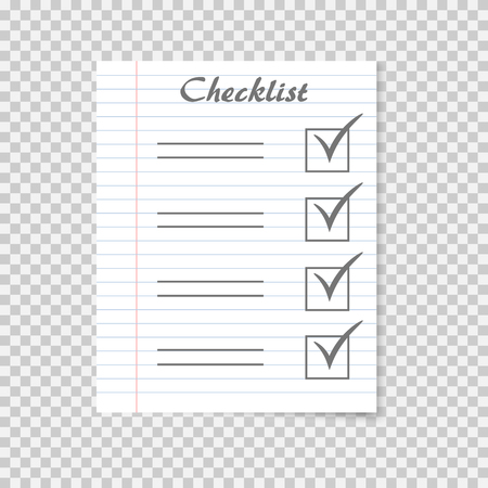 Checklist concept. To do list on realistic school notebook paper. Checkmark. Vector illustration with shadow on transparent background.