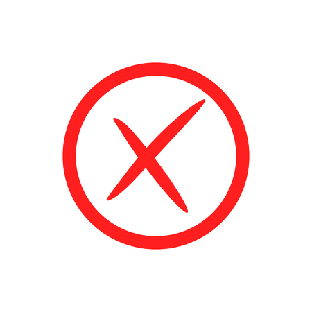 Red cross mark icon. Vector crosskmark button. X symbol. Sign for web. Illustration isolated on white background. Ilustração