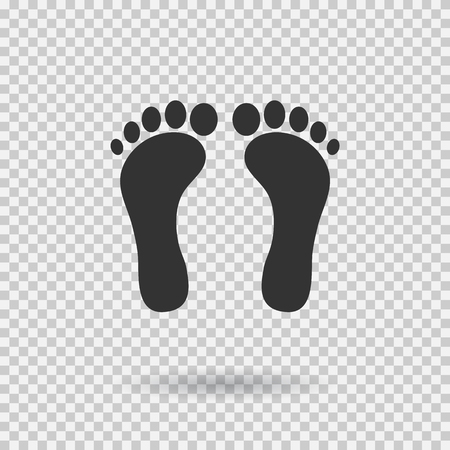 Human footprint icon. Footsteps in Flat style, black silhouettes illustration with shadow on transparent background.  イラスト・ベクター素材