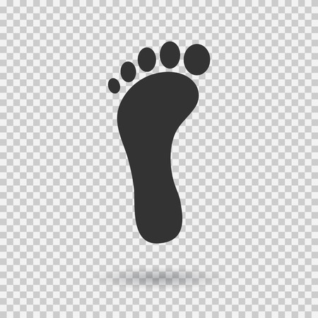 Footstep icon. Vector footprint. Flat style. Illustration with shadown on transparent background. Vettoriali