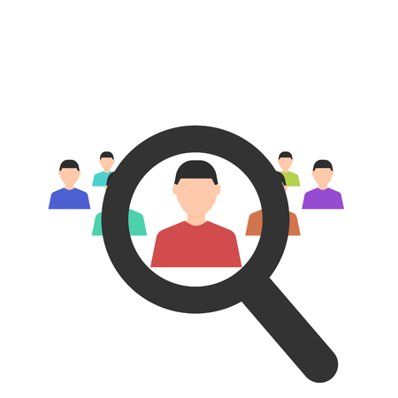 Human resources. Magnifier searching a man. Search for employe. Recruitment. Business concept. Flat design. Vector illustration on white background.
