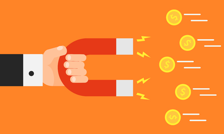 Hand holding magnet. Attraction money. Business concept. Magnetic force. Earn money. Profit, income. Vector illustration in flat style isolated on background.