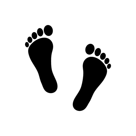 Human footprint icon. Vector footsteps. Flat style. Black silhouettes. Illustration isolated on white background.