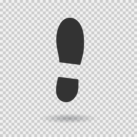 Human shoe footprint icon. Vector footwear. Flat style. Black silhouette. Illustration with shadow isolated on transparent background.