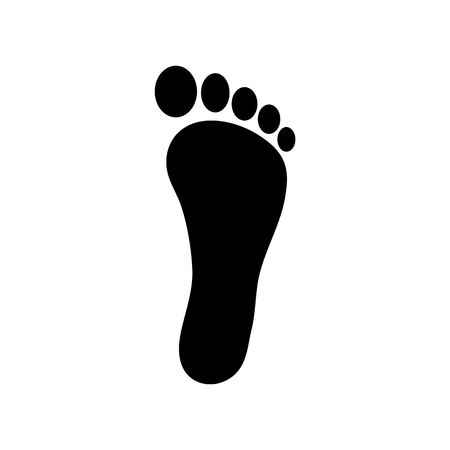 Human footstep icon. Vector footprint. Black silhouette. Flat style. Illustration isolated on white background.