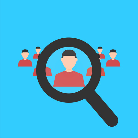 Human resources. Magnifier searching a man. Search for employe. Recruitment. Business concept. Flat design. Vector illustration isolated on background. Ilustração
