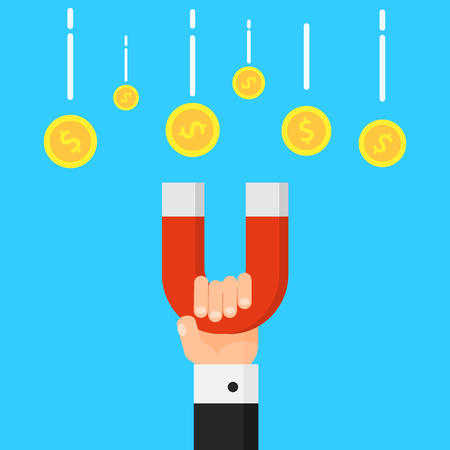 Hand holding magnet. Attraction money. Business concept. Magnetic force. Earn money. Profit, income. Vector illustration isolated on background Illustration