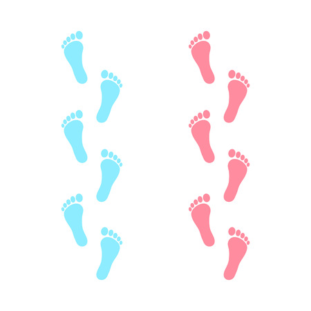 Human footprint icon. Vector baby footsteps. Boy and girl. Flat style. Illustration isolated on white background.