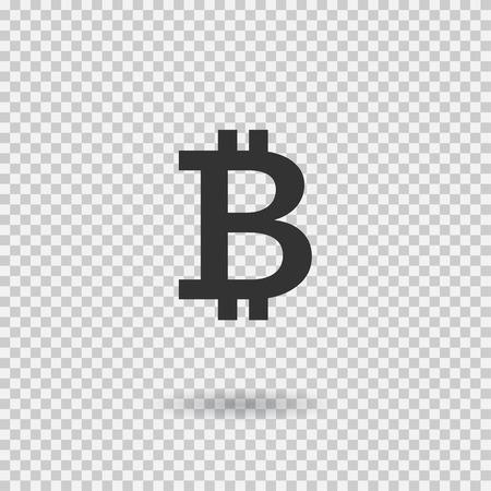 Bitcoin sign icon. Crytocurrency. Blockchain. Digital curency. Vector button for web or app. Illustration with shadow on transparent background. Ilustração
