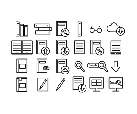 Library vector icons set. Books. Vector illustration isolated on white background. Web icon.