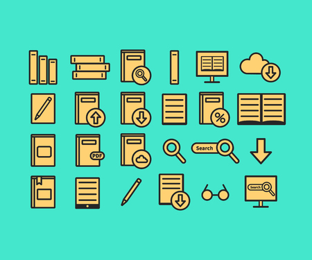 Library vector icons set. Books vector illustration isolated on background, web icons.