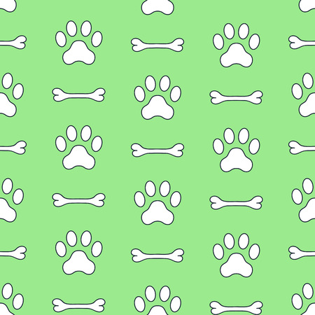 Dog paws and bone vector seamless pattern. Paw prints, animal footprint background.