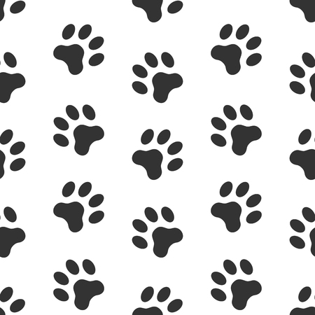 Dog paw track, paw prints background vector seamless pattern.