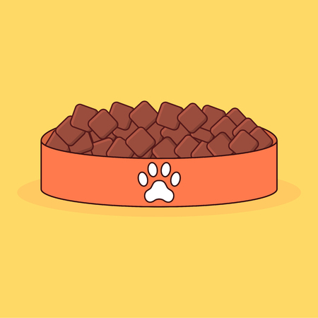 Animal bowl with food and paw print. Cartoon vector illustration isolated on background.