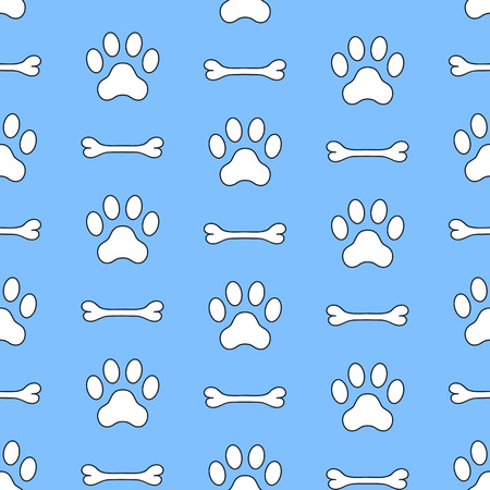Seamless vector pattern of dog paw and bown. Pawprints. Animal footprint background.