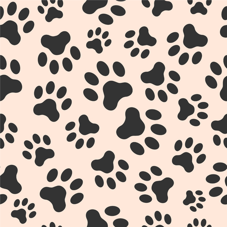 Seamless vector pattern of dog paw track. Pawprints. Animal footprint background.