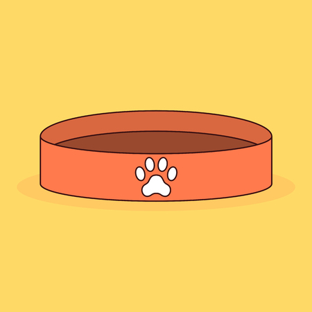 Empty animal bowl. Dog food. Paw print. Cartoon vector illustration isolated on background.