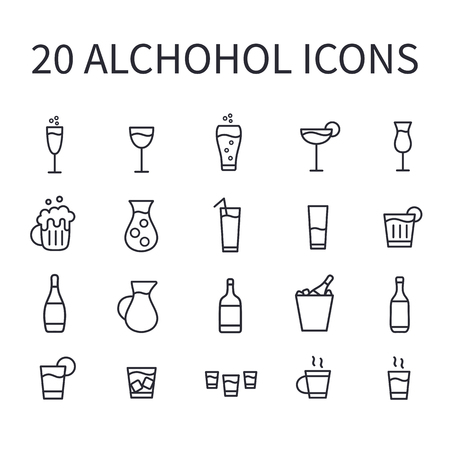 Set of alcohol icons for web or mobile app. Vector bar icons. Thin line butons for internet. Illustration isolated on white background. Ilustração
