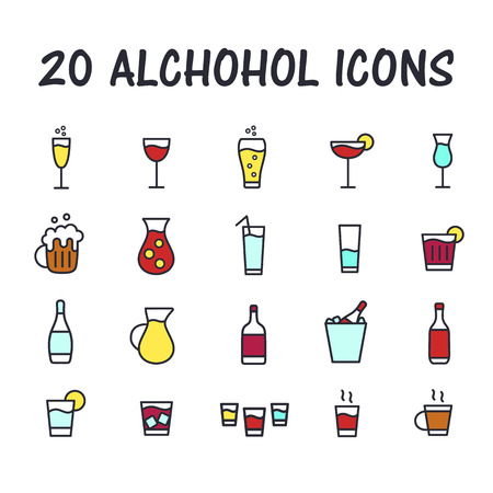 Set of alcohol icons for web or mobile app. Cartoon bar icons. Thin line butons for internet. Flat style. Vector illustration isolated on white background.