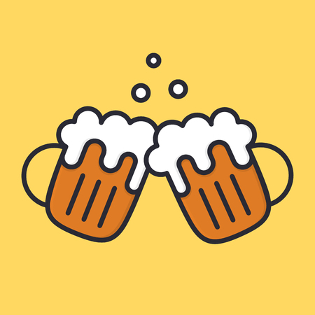 Cheers beer mugs with froth and bubbles. Cartoon alcohol icon. Vector flat illustation isolated on background.
