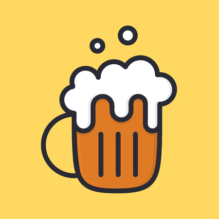 Beer mug with froth. Ale. Cartoon alcohol icon. Flat style. Vector illustartion isolated on background.