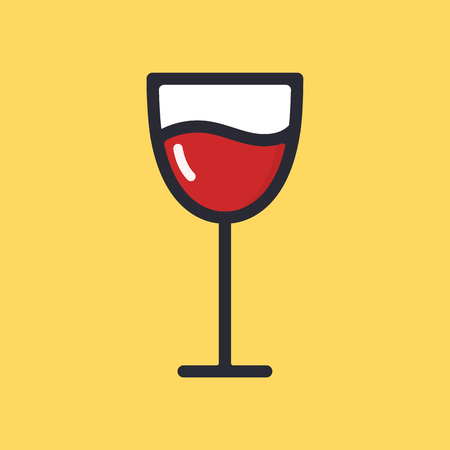 Wineglass with red wine. Cartoon alcohol icon. Vector flat glass. Illustration isolated on background.