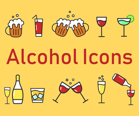Set of cartoon alcohol icons. Vector flat icons for bar. Collection of alcohol drinks. Illustration isolated on background. Ilustração