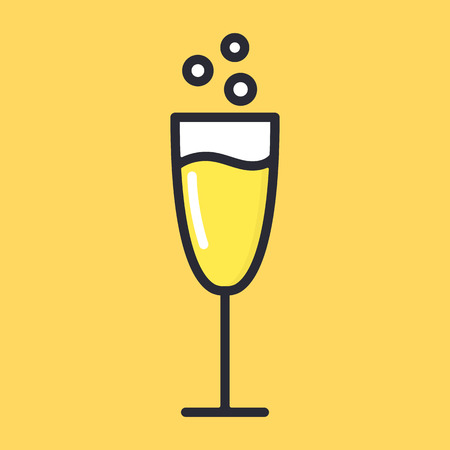 Glass of champagne with bubbles, yellow drink. Cartoon alcohol icon vector flat glass illustration isolated on background.