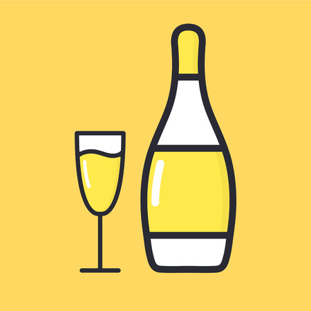 Glass of champagne with bottles. Flat style cartoon alcohol icon vector illustration isolated on background.