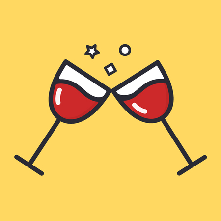 Cheers wine glasses cartoon alcohol icon. Wineglass vector flat illustration isolated on background.