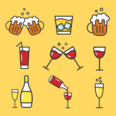 Set of cartoon alcohol icons vector flat icons for bar. Collection of alcohol drinks. Wineglass, beer mug, whiskey, champagne, cocktail, illustration isolated on background.