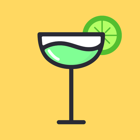 Lime cocktail fruit drink, martini. Cartoon alcohol icon vector flat glass illustration isolated on background.