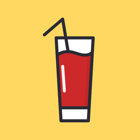 Tomato juice in glass, red drink icon. Cocktail with straw vector icon in flat style illustration isolated on background.