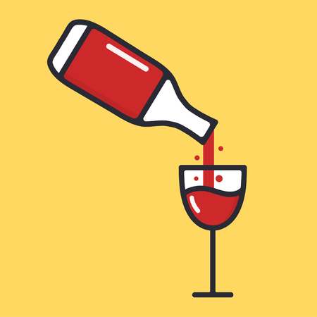 Bottle and wineglass with red wine, pour into a glass. Alcohol drink cartoon alcohol icon vector flat illustration isolated on background.