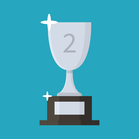 Silver cup flat icon. Trophy. Award. Second place. Cartoon style. Vector illustration isolated on background Ilustração
