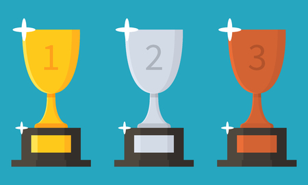 Collection of cups. Trophy flat icon. Award. Prize. Vector illustration isolated on background.