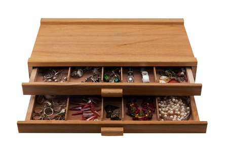 wooden box with boxes full of jewelry