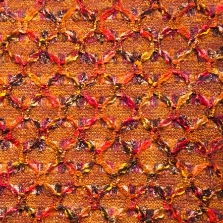fine knitted boucle red orange texture background Stock Photo