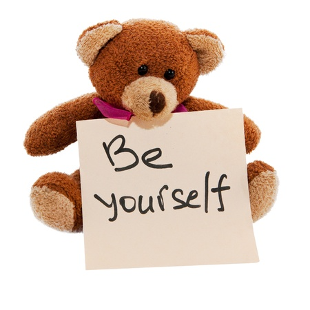 reminder of the necessary be yourself isolated white photo