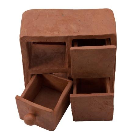 Close up shot of three ceramic drawers isolated white Stock Photo