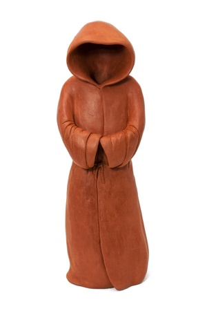 monastic: ceramic figurine in the form of the monastic cloak with hood