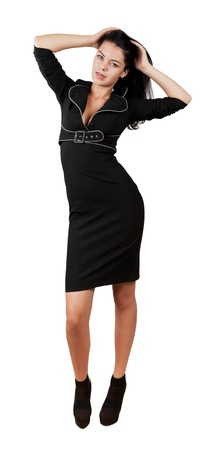 exacting: elegant business woman in stylish dress isolated white